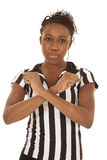 Referee woman blocking sign. A woman referee calling a time out with a serious expression on her face Stock Photos