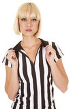Referee woman hold collar Royalty Free Stock Image