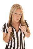 Referee woman hold whistle string Stock Image