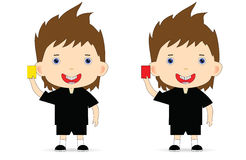 Referee with a yellow and a red card. Raster Royalty Free Stock Image