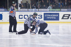 Referees. MOSCOW - JANUARY 31 : Unidentified referees on hockey match Spartak-CSKA  in sports palace CSKA on January 31, 2012 in Moscow, Russia Royalty Free Stock Images