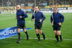 The referees at the game between Aris and Paok Royalty Free Stock Image
