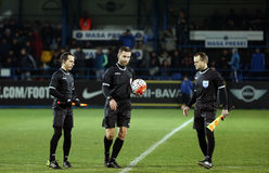 Referees at Steaua - Viitorul match. Starting the match Royalty Free Stock Image