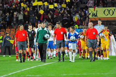 Referees team. At the match between Romania and Faroe Islands, 14.10.2009 Stock Photos