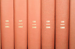 Reference Books on Shelf. This is a close up image of reference books on a shelf stock photo