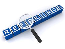 Reference. Text 'reference' inscribed in white uppercase letters on small blue cubes with hand magnifier placed alongside, white background stock photo