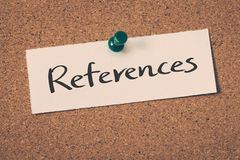 References. Concept message on a cork board Royalty Free Stock Photography