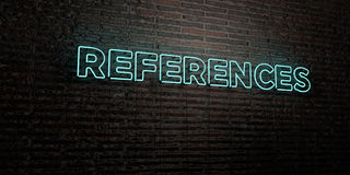 REFERENCES -Realistic Neon Sign on Brick Wall background - 3D rendered royalty free stock image. Can be used for online banner ads and direct mailers royalty free illustration