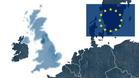 Referendum about Brexit - West EU textured map with the European flag, showing the UK's exclusion stock video footage