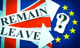Referendum BRITANNICO di Brexit UE Fotografia Stock