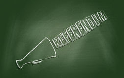 Referendum. Chalkboard with text 'Referendum'. Concept of conducting independence referendum or campaign for public consulting Stock Image