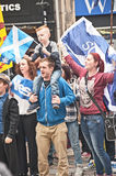 Referendum day in Inverness. High Street Inverness on referendum day, 18th September 2014 with pro Independence crowd waving Scottish flag, Saltire Royalty Free Stock Photos
