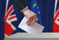 Referendum in Great Britain (Brexit) about relationship with European Union. Voter holds envelope in hand above ballot Royalty Free Stock Images