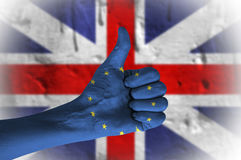 Referendum on United Kingdom membership of the European Union. Hand with thumb up Royalty Free Stock Photo