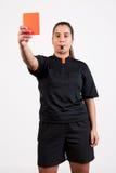 Referent, der die rote Karte zeigt Lizenzfreies Stockfoto