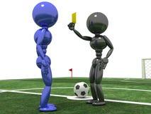 """Referent zeigt eine gelbe Karte zum Spieler â """"– 1 Stockbild"""