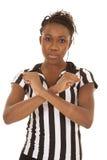 Referentfrau, die Zeichen blockiert Stockfotos