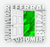Referral Business Word of Mouth Customers Sales Growth Door. An open door for new referral and word of mouth customers to walk in thanks to positive buzz and Royalty Free Stock Photography