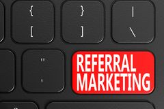 Referral Marketing on black keyboard. 3D rendering Royalty Free Stock Image