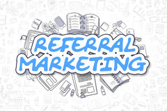 Referral Marketing - Cartoon Blue Text. Business Concept. Royalty Free Stock Images