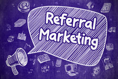 Referral Marketing - Doodle Illustration on Blue Chalkboard. Royalty Free Stock Photography