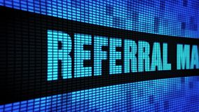 Referral Marketing Side Text Scrolling LED Wall Pannel Display Sign Board. Referral Marketing Side Text Scrolling on Light Blue Digital LED Display Board Pixel stock video footage