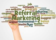 Referral Marketing word cloud and hand with marker concept. On white background royalty free stock photography