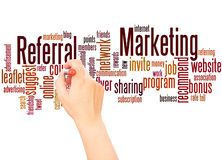 Referral Marketing word cloud hand writing concept. On white background stock images