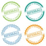 Referrals badge isolated on white background. Flat style round label with text. Circular emblem vector illustration Stock Images