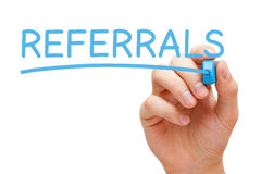 Referrals Blue Marker Royalty Free Stock Photography