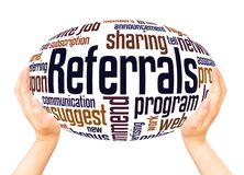 Referrals word cloud hand sphere concept. On white background royalty free stock images