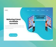 Referring a friend for a Discount on a App Isometric Artwork Concept vector illustration