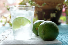 Refeshing glass of water with lime Stock Images