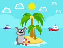 Refiera la isla Baño Verano Mar Ejemplo de la acción del vector de la cuerda de salvamento de las vacaciones ilustración del vector