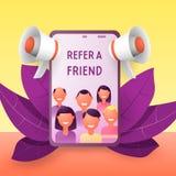 Refiera un concepto del amigo La gente grita en el megáfono del smartphone al amigo de la palabra ilustración del vector