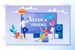 Refiera un concepto del amigo Amigo que comparte código de la remisión Ejemplo del vector con el carácter, página de aterrizaje stock de ilustración