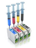 Refill CMYK cartridges Royalty Free Stock Images