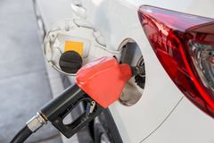 Refill and filling Oil Gas Fuel at station.Gas station - refueling. stock photos