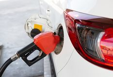 Refill and filling Oil Gas Fuel at station.Gas station - refueling. stock photo