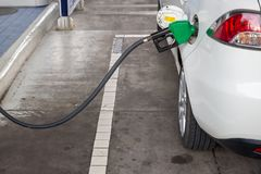 Refill and filling Oil Gas Fuel at station.Gas station - refueling.To fill the machine with fuel. Car fill with gasoline at a gas station. Gas station pump royalty free stock image