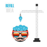 Refill the idea. Crane fill light bulb to head, increase idea,  on white background Stock Images