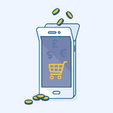 Refill mobile money balance online with coins and shopping Royalty Free Stock Photos