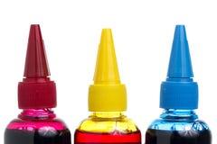 Refill Printer Ink bottle on White background. Printer Ink bottle on White background Red, Yellow, Blue Royalty Free Stock Image