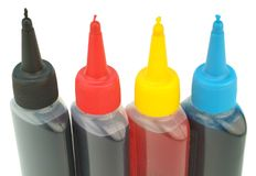 Refill set. Color printer refill set at the white background Stock Photo