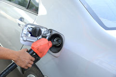 Refilling the car with fuel Stock Images