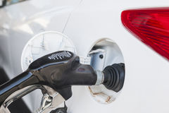 Refilling Car Tank at Fuel Station Stock Images
