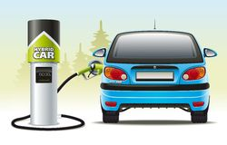 Refilling a hybrid car Stock Image