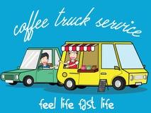 Refilling styl życia przy usługowym cukiernianym samochodem dostawczym ilustracji