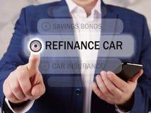 Free REFINANCE CAR Inscription On The Screen. Close Up Broker Hands Holding Black Smart Phone. Refinancingacarloan Involves Stock Photography - 220852722
