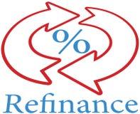 Refinance hem- intecknar lånsymbolssymbol Royaltyfria Bilder